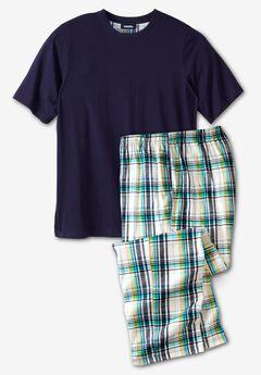 Jersey Knit Plaid Pajama Set,