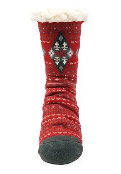 Diamond Fairisle Slipper Socks,