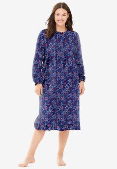Cotton Flannel Print Short Gown ,
