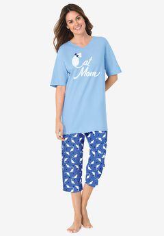 2-Piece Capri PJ Set , CORNFLOWER BLUE CAT MOM