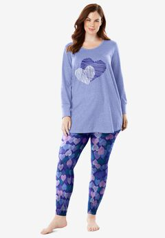 2-Piece PJ Legging Set , BLUE SAPPHIRE HEARTS