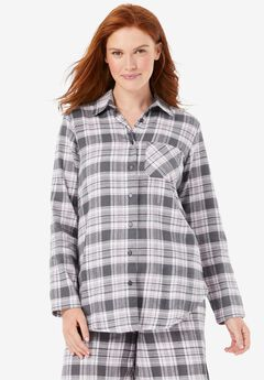 Flannel Button-Front Pajama Shirt ,