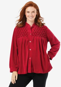 "Smocked velour 25"" bed jacket by Only Necessities&#174,"