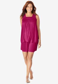 Lace-Trim Short Pajama Set ,